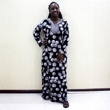 Dashikiage ricamo Applique Abaya abito Casual allentato grigio donna 2019 abiti lunghi Vintage manica lunga