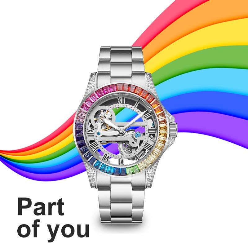 Hollow Couple Watches Men Women Automatic Mechanical Watch White Gold Diamond Steel Band Bracelet Watch Waterproof Clock Sports