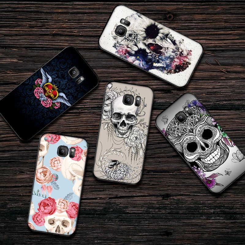 Cráneo tatuaje de la flor del teléfono móvil para Samsung A5 3 6 7 8 9 10 A10 A20 30 40 50 60 70 M40 cubierta suave de silicona