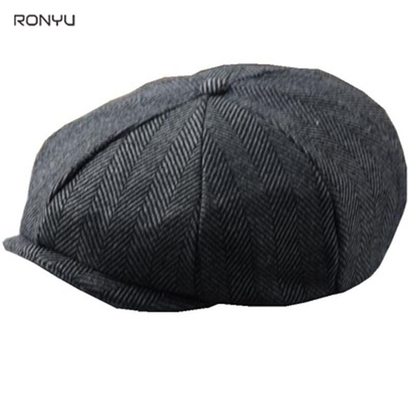 2021 New Winter Autumn Caps For Men Newsboy Hats Vintage Herringbone Octagon Cap Women Berets Gatsby Flat Hat BJM27