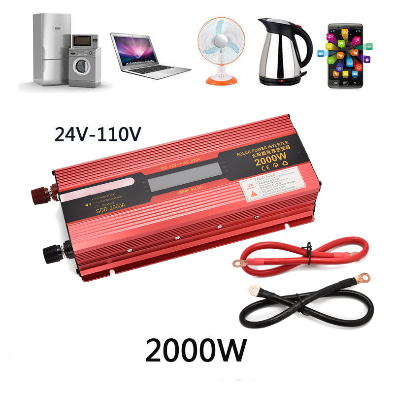 2000W/<font><b>3000W</b></font> to 24V-110V LED Car Power <font><b>Inverter</b></font> Converter Charger Adapter Voltage Transformer Modified Sine Wave image
