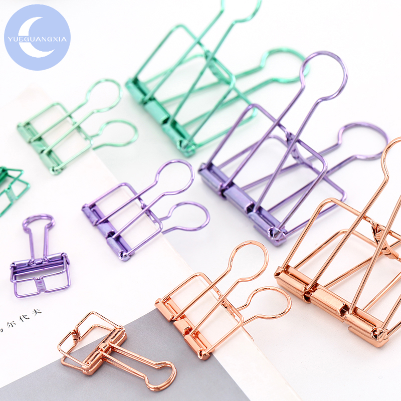 YUEGUANGXIA Small Medium Large Sizes Ins Colorful Gold Sliver Rose Green Purple Binder Clips Office Study Paperclips 8 Colors