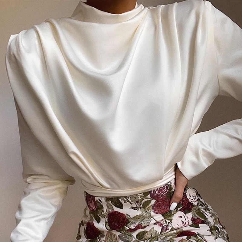 여성 새틴 플레 티드 터틀넥 바디 수트 백 홀드 아웃 패치 워크 메쉬 브리프 레이디 바디 수트 2020 Spring Elegant Female Romper
