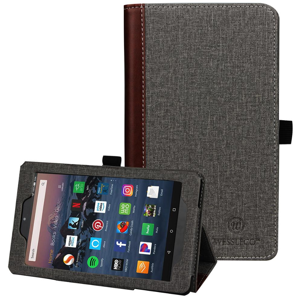Wessleco for Amazon Kindle <font><b>Fire</b></font> <font><b>HD</b></font> <font><b>10</b></font> 2017/2018/2019 Tablet (2019 9th Generation) Tablet <font><b>Case</b></font> Smart Flip PU Leather Stand Cover image