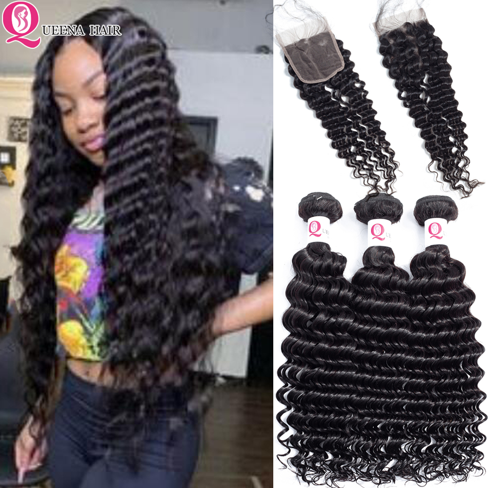 Queena Cheap Cambodian Deep Wave Bundles With Closure With By Hair Natural Black Deep Curly Human Hair Bundles With Closure Remy