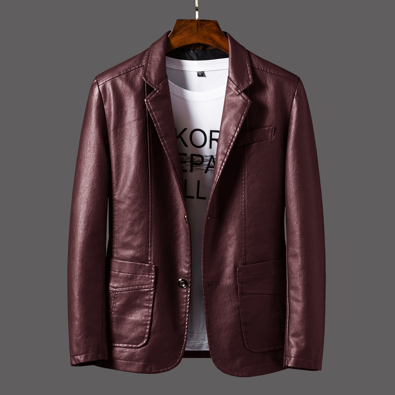 New Style Leather Coat Young MEN'S PU Leather Suit Collar Business Casual Leather Jacket Spring Thin