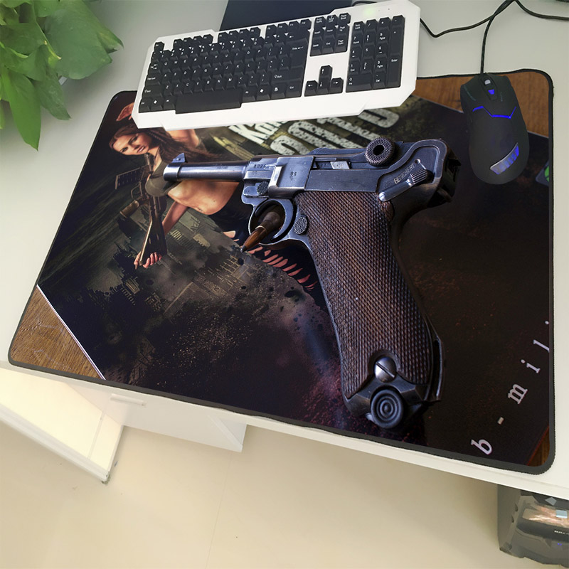 XGZ Guns Enthusiasts Large Size Mouse Pad Sewing Pistol Pattern Rifle Magazine Laptop PC Table Mat Rubber Universal Non-slip image