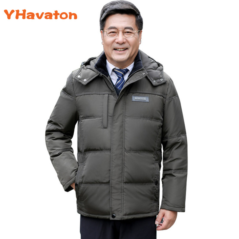 Winter Jacket Men Parka Thermal White Duck Down Ja
