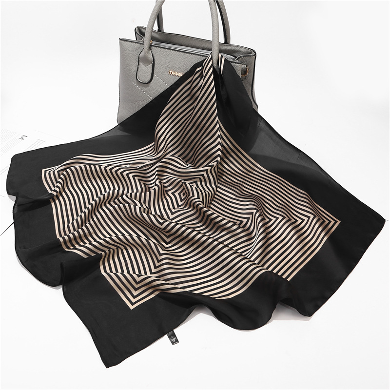Fashion Striped Print Hair Scarf For Women Small Shawls Silk Satin Bag Scarfs Female 70*70cm Square Neck Scarves For Ladies 2020