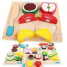 6 סגנונות ילדים עץ חיתוך פירות ירקות קינוח פאזל לילדים צעצועי מטבח להעמיד פנים לשחק בישול חינוכי צעצוע