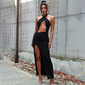 Slit Maxi Dress Women Summer Cross Bandage Hollow Out Navel Party Sexy Dress Ladies Bodycon Long Dresses Evening 2021 Fashion