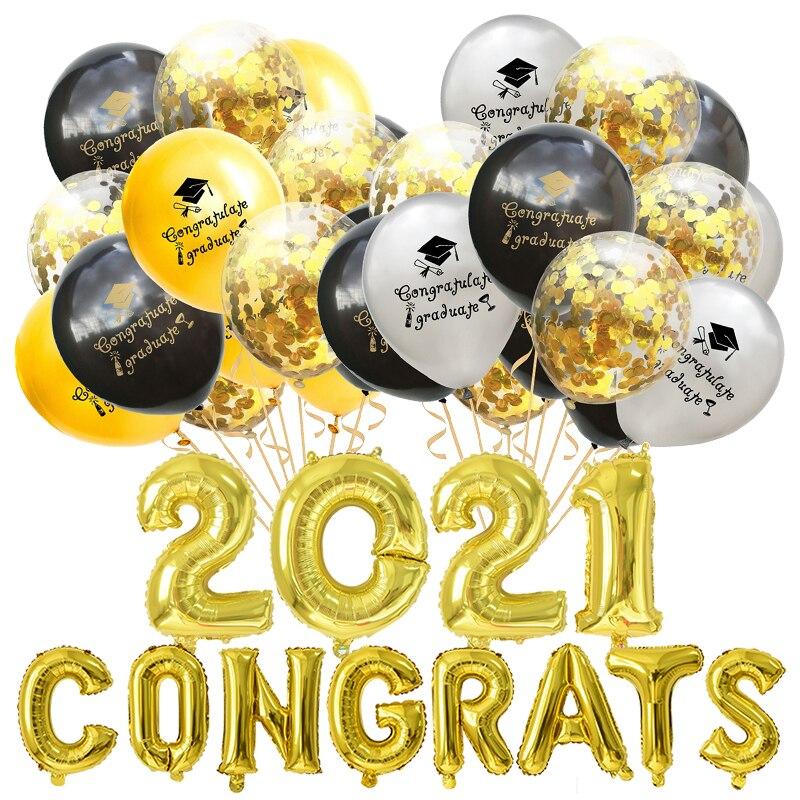 1-15 шт. воздушные шары на выпускной цвета: золотистый, серебристый черный латекс конфетти для воздушного шара баллоны 2021 поздравление град в...