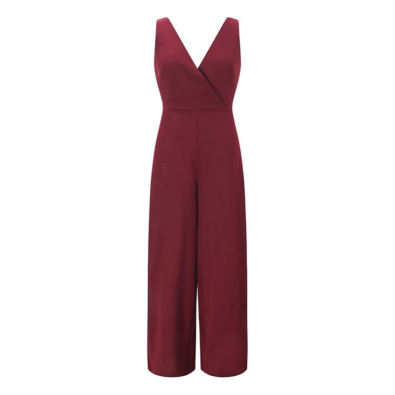 Sexy V-neck Summer   Jumpsuits   Backless Sleeveless Women Romper Solid Fashion Work Office Overalls   Jumpsuit   Black Club Party GV203