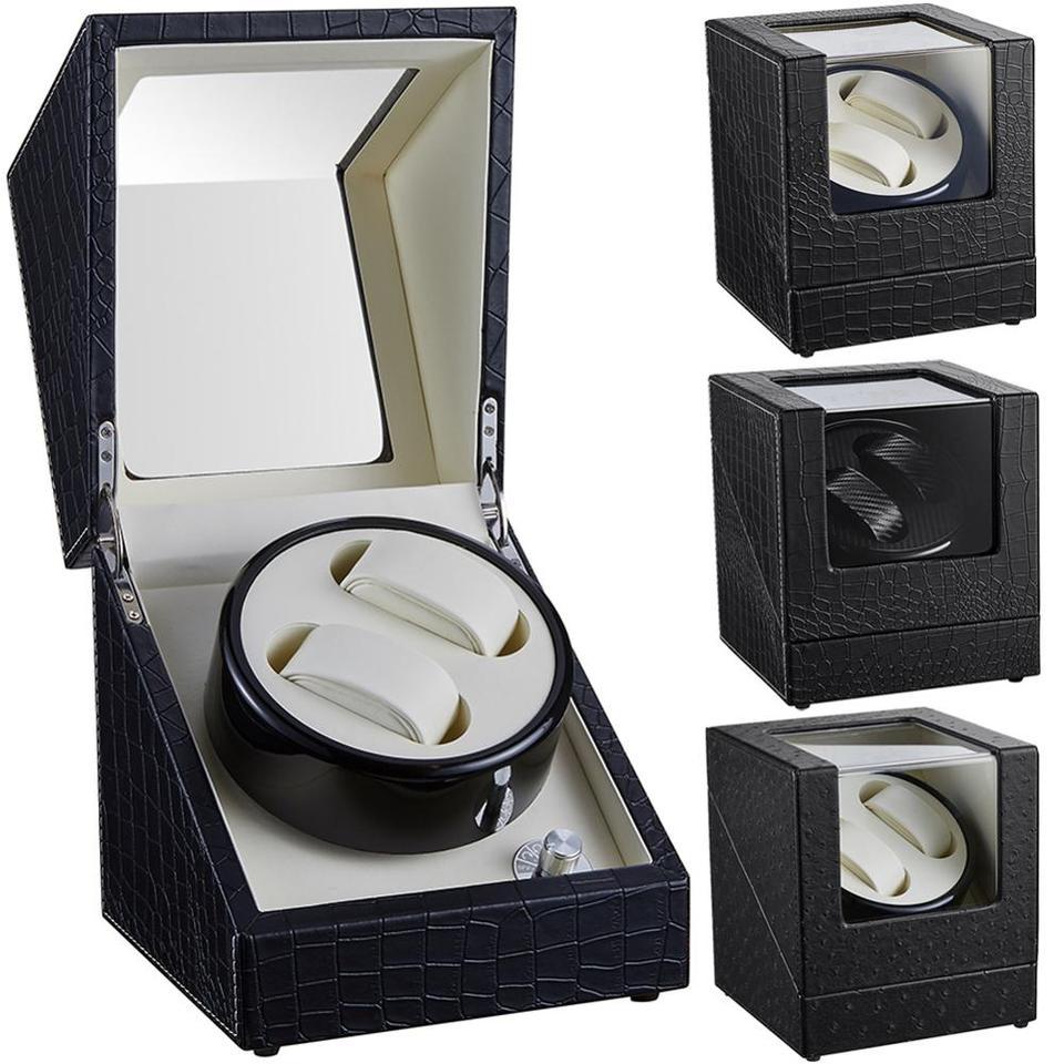 1 Grid Automatisch Uhrenbeweger Watchwinder Uhrenbox Braun 100-240V EU Plug PU
