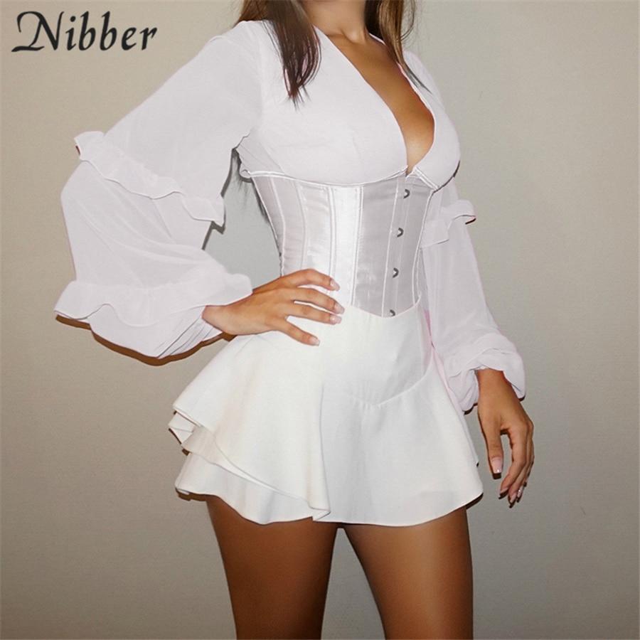 Nibber Corset Patchwork Lantern Sleeve Design T-Shirt For Women Tops 2021 Spring Autumn Elegant Bandage Halter Design Top Female