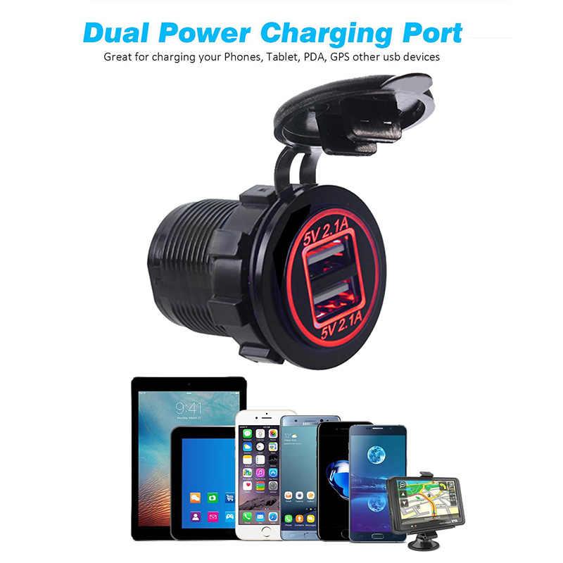 Dual USB Charger Socket Power OutletกับไฟLEDกันน้ำ 12V 4.2A Dualพอร์ตชาร์จสำหรับรถRVเรือMarine D5