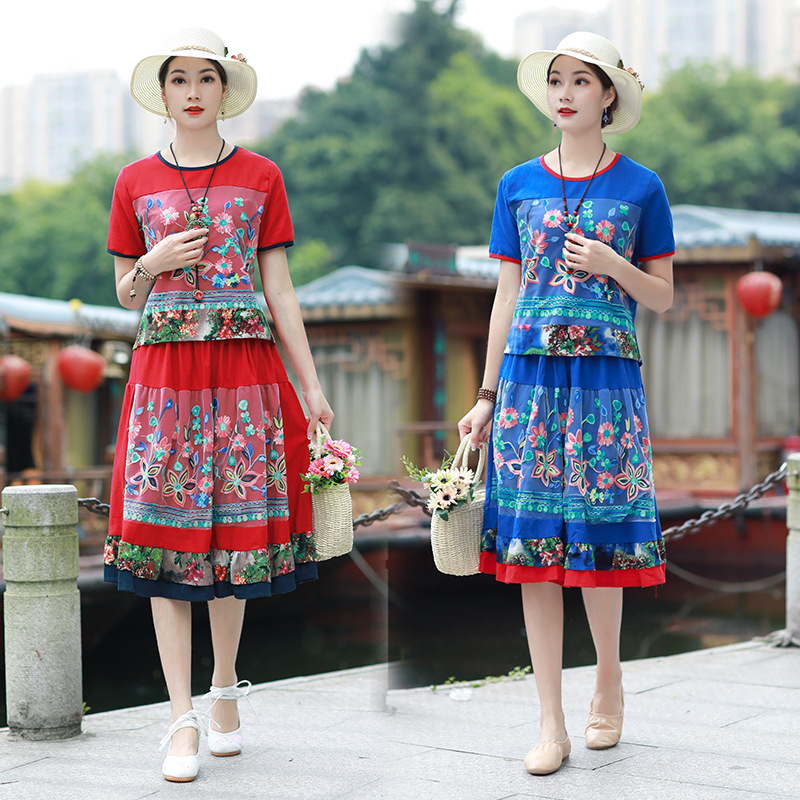 Photo Shoot National Wind Retro Cotton Linen Gauze Embroidered Joint Short Sleeve T-shirt Tops Gauze Embroidery Skirt Set