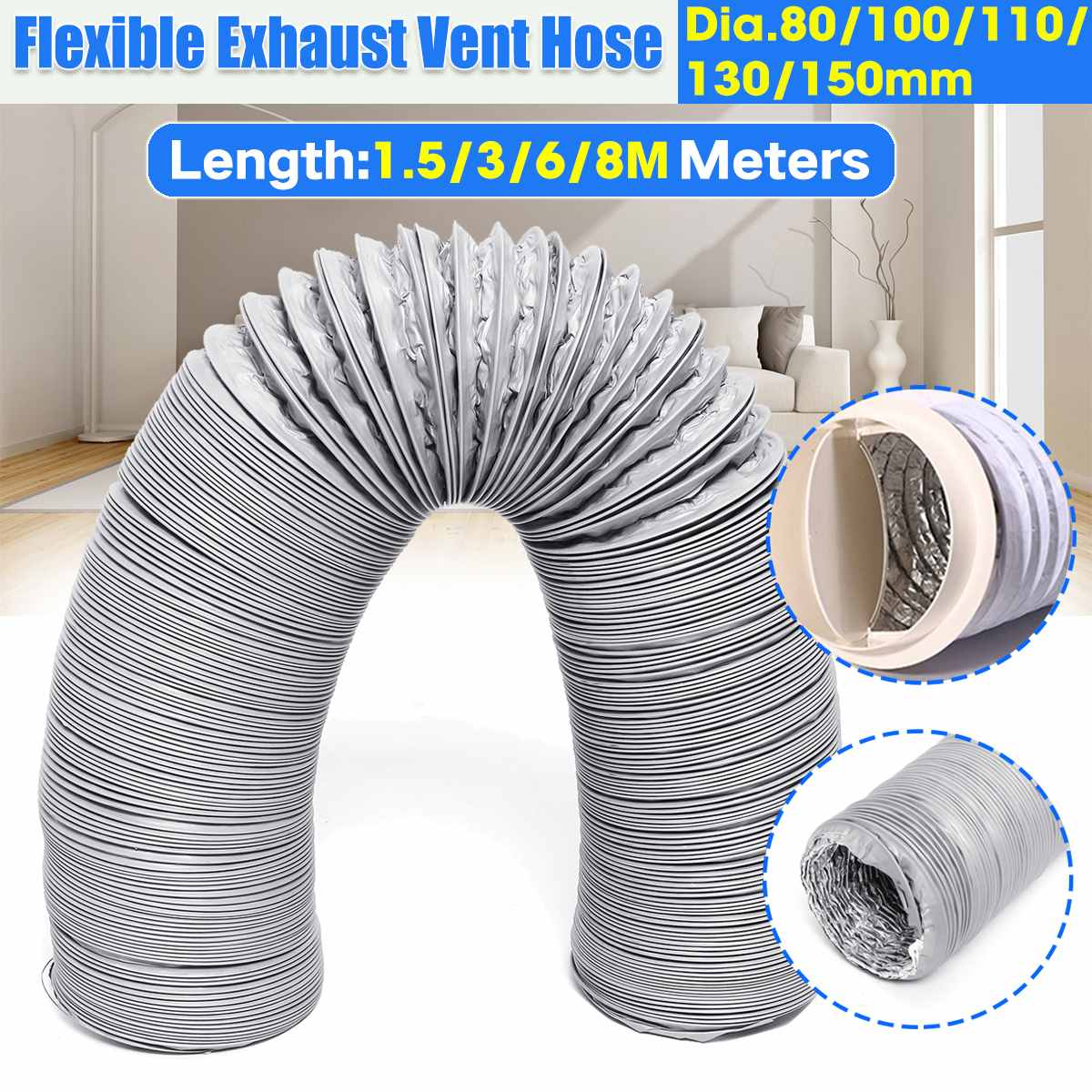 Air Conditioner Exhaust Pipe Vent Hose Flexible Outlet 80mm/100mm/110mm/130mm/150mm Portable Air Conditioner Exhaust Vent Pipe