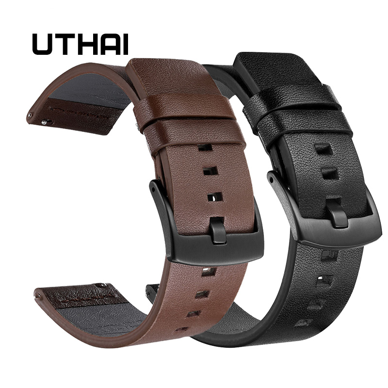 UTHAI Genuine Leather Watch Band Strap For Samsung Galaxy Watch 42 46mm Gear S3 Sport WatchBand Quick Release 18 20 22 24mm,Z26
