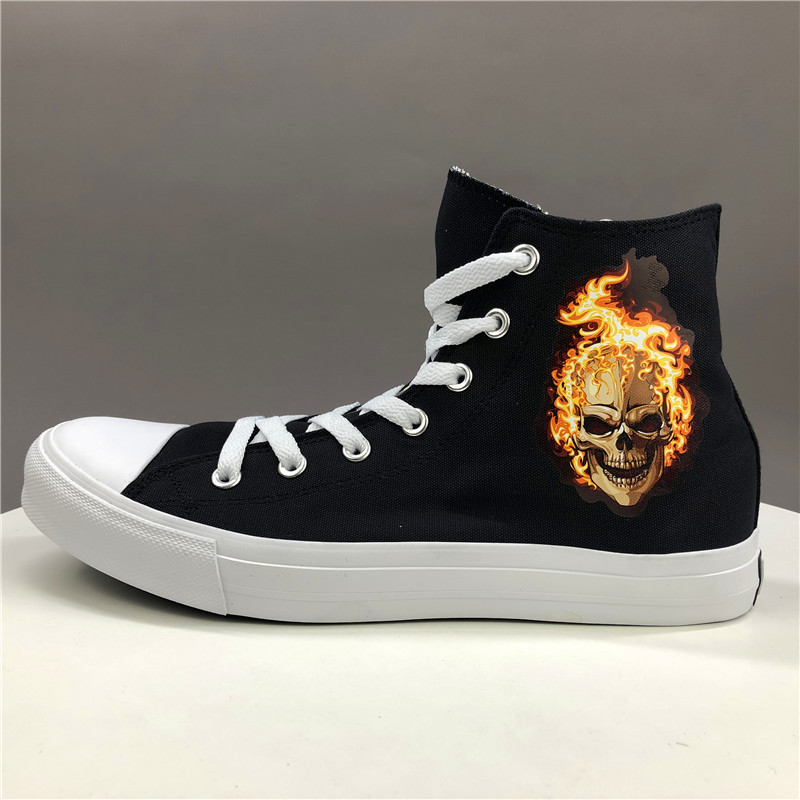 Wen Original Design Skeleton Skull Burning Flame Canvas Shoes Black Mens Womens Skateboarding Sneakers High Top Sport Footwear|skateboard sneakers|womens skateboard|sneakers skateboard - title=