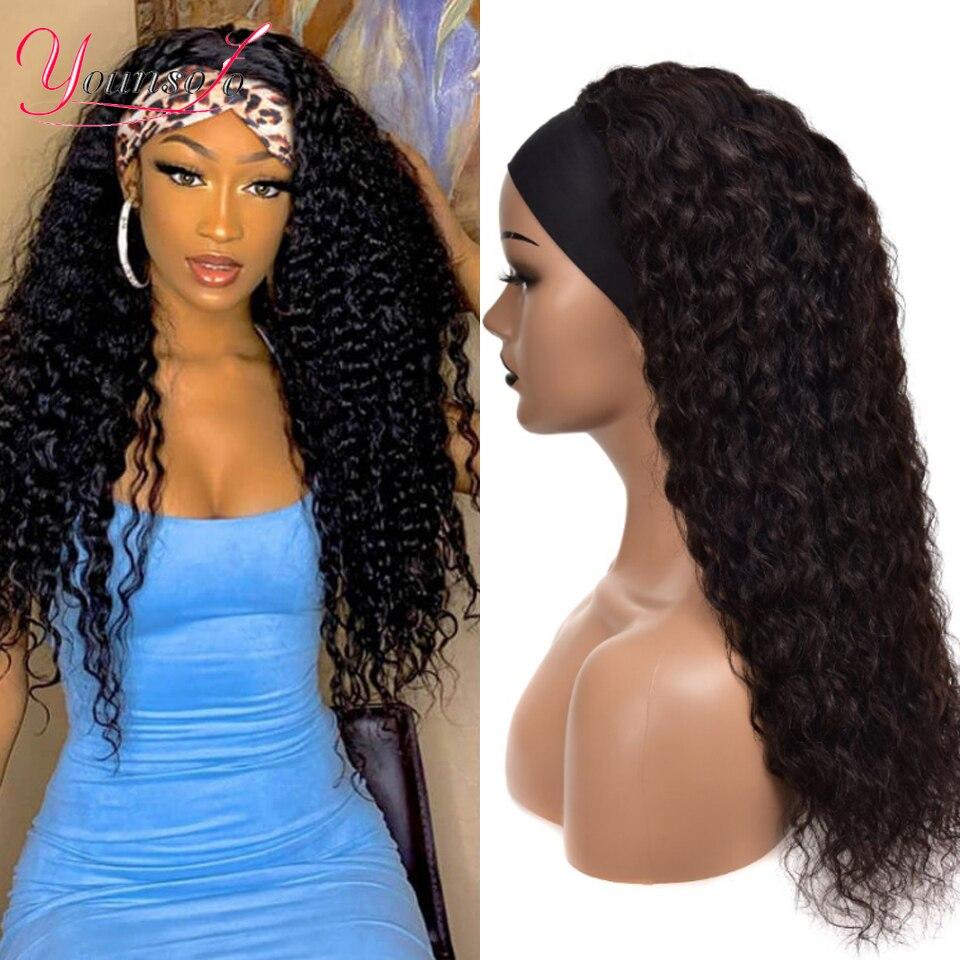 Younsolo – perruque en cheveux péruviens naturels Remy, bandeau, Deep Wave, couleur noire naturelle, 100% cheveux humains, sans colle, 28 pouces, pour femmes