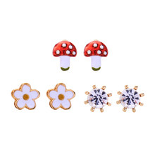kissme Three Pairs One Set Delicate Enamel Little Flowers Mushroom Crystal Stud Earrings For Women Gold Color Fashion Jewelry(China)