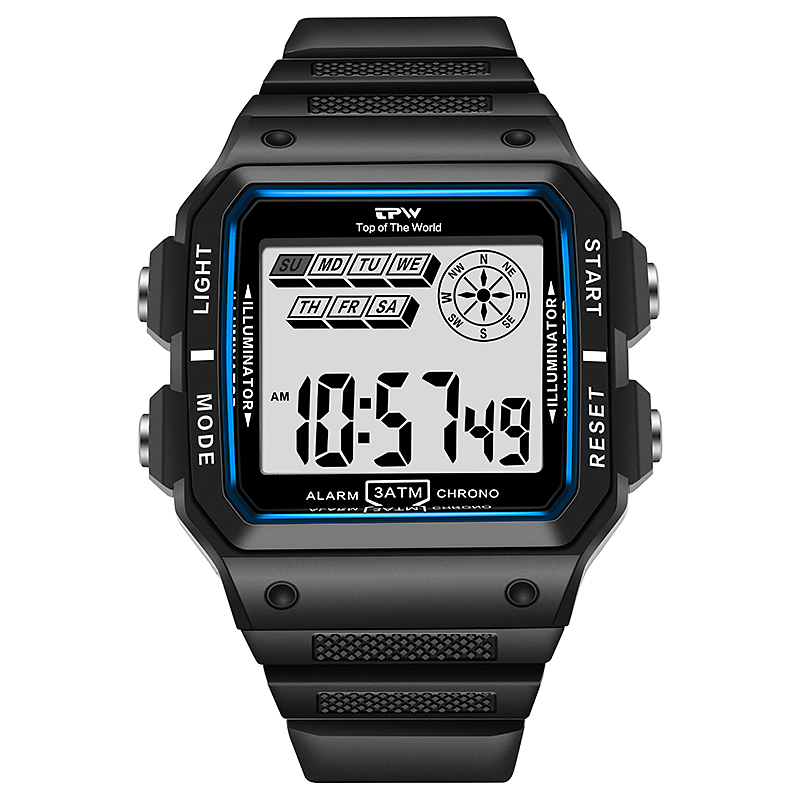 Shock Resistant Watches 3ATM Waterproof Alarm Chrono Rectangle Dial Canlender Black Light Tough Structure