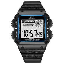 Resistente a choques relógios 3atm à prova dwaterproof água alarme crono retângulo dial ajustável luz preta estrutura resistente