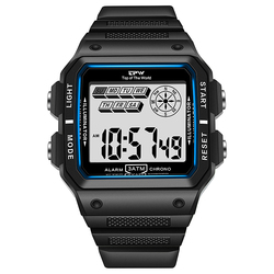 Tough Watches Shock Resistant 3ATM Waterproof Alarm Chrono Rectangle Dial Canlender Black Light