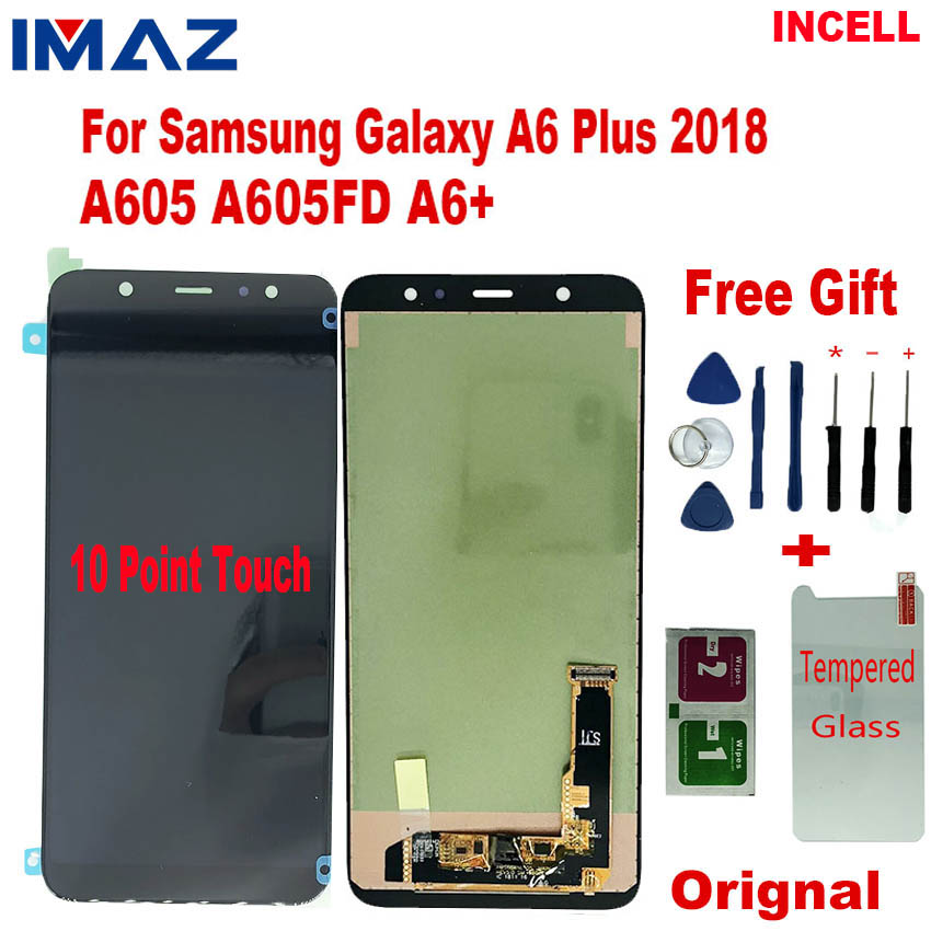 IMAZ <font><b>A6</b></font>+ LCD For <font><b>Samsung</b></font> <font><b>Galaxy</b></font> <font><b>A6</b></font> Plus 2018 LCD <font><b>Display</b></font> Touch Screen Digitizer Replacement Parts For A605 SM-A605F A605FN LCD image