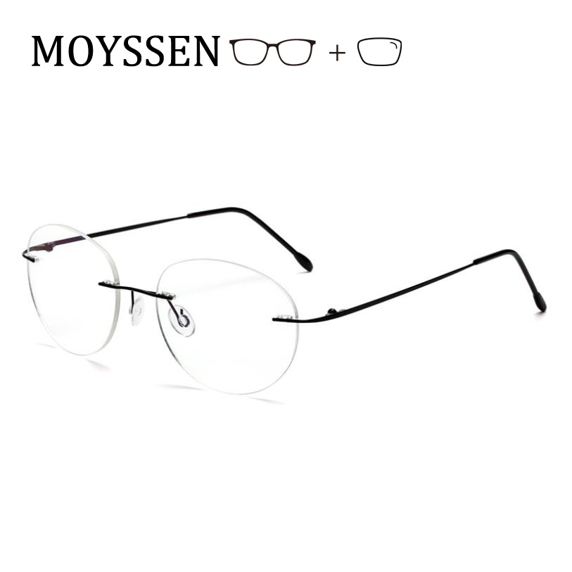 Big Round Foldable Rimless Glasses Frame Light Titanium Alloy Customized Presbyopia Myopia Prescription Eyeglasses Men Women