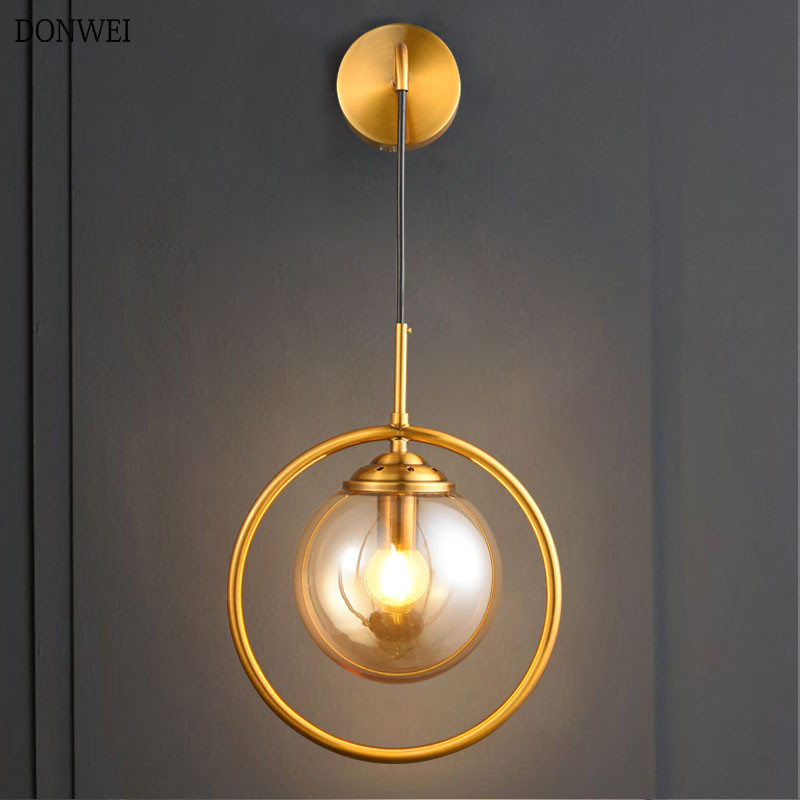 Nordic Modern LED Wall Lamp Bathroom Bedroom Copper Glass Ball Vintage Wall Lights Passage corridor Indoor LED Stair Lighting