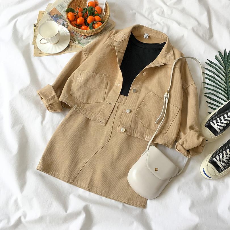 TYHRU  Summer Women Solid Color Single Breasted High Waist Long Sleeve Tops A-line Skirt 2 Piece Set