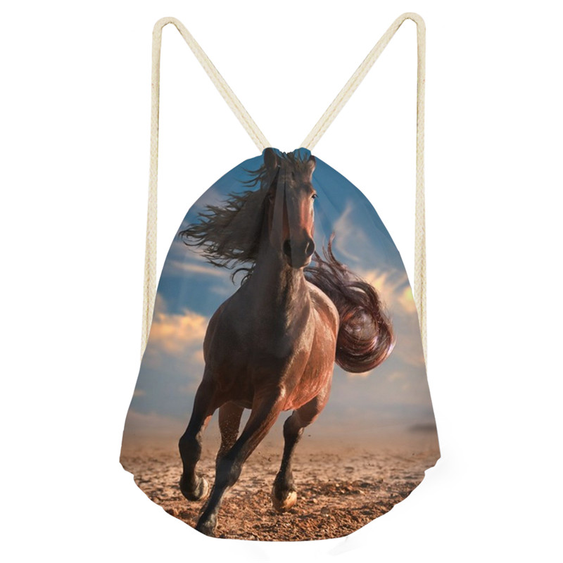 Customized Animal Horse Pattern Draw String Bag Travel Drawstring Pocket Bagpack School Backpack Horses Schoolbag Drop Shipping