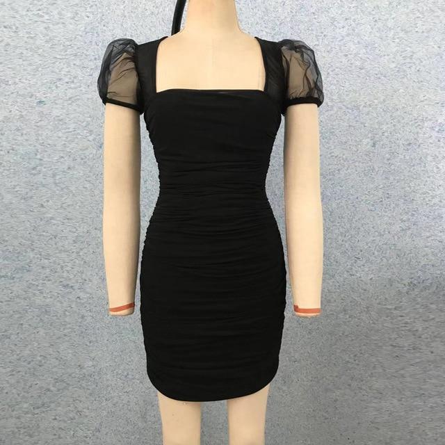 (Sospebgy) Hot Sale Women's Dress Pleated Square Neck Puff Sleeve Compact Slim Sexy Mini Hip  Party Club Bandage Dresses 8