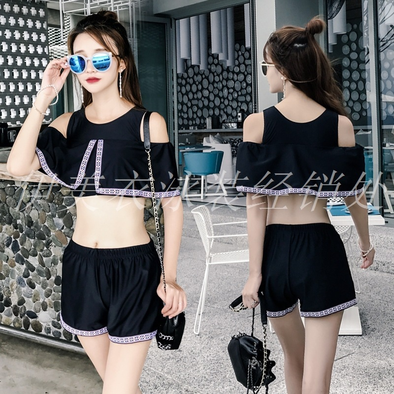 South Korea Sports Two-piece Swimsuits Women's Three-piece Set Belly Covering Slimming Sexy Small Bust Gathering Conservative Bo
