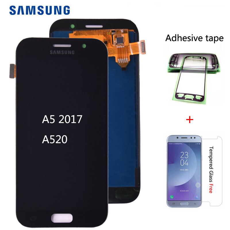 For <font><b>SAMSUNG</b></font> <font><b>GALAXY</b></font> <font><b>A5</b></font> 2017 Duos A520 A520F A520K <font><b>LCD</b></font> Display with Touch <font><b>Screen</b></font> Digitizer Assembly free shipping image