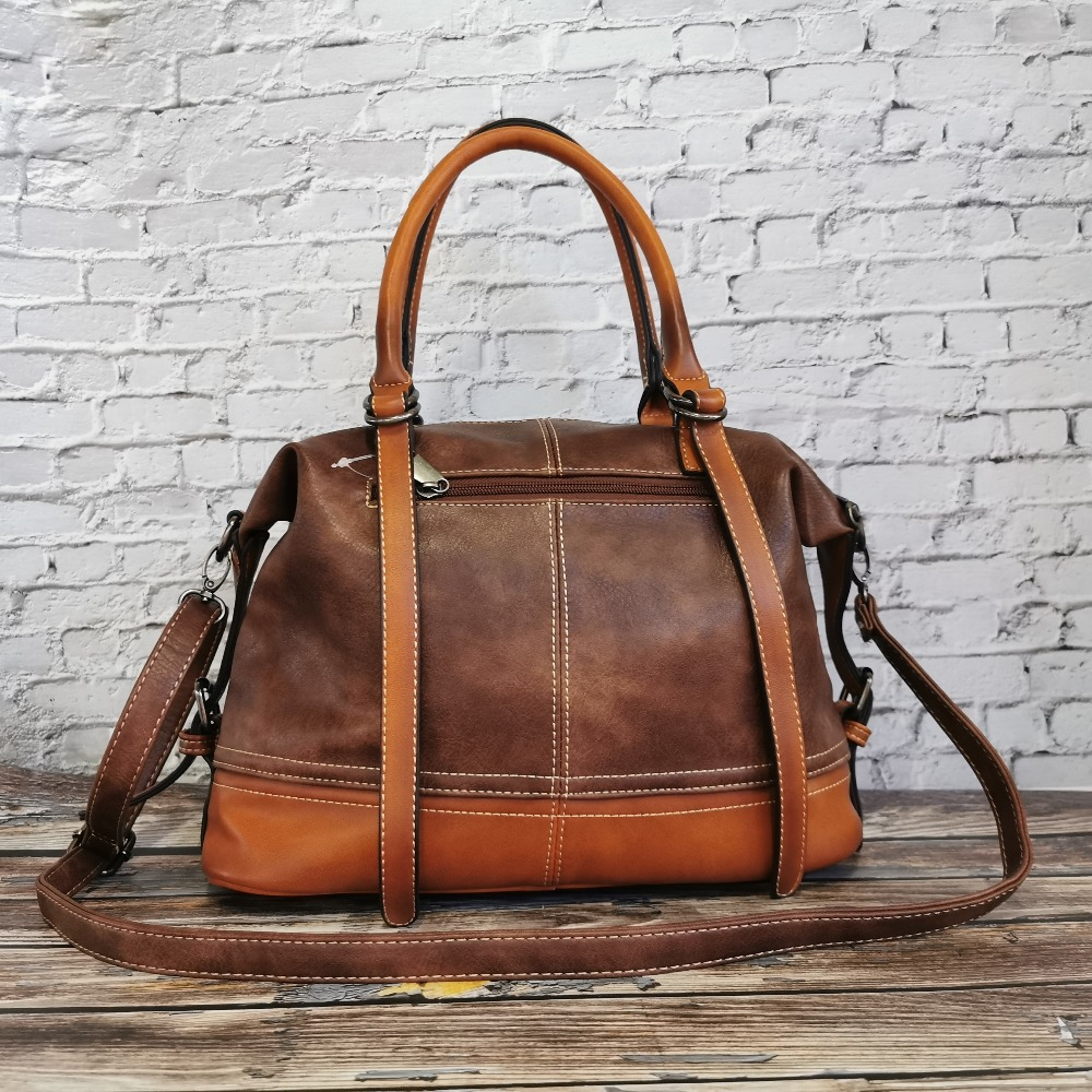 IMYOK Vintage Handbag New 2020 Leather Bags for Women Lady's Travel Totes Hand Bag Large Capacity Shoulder Designer Bolsa Femini