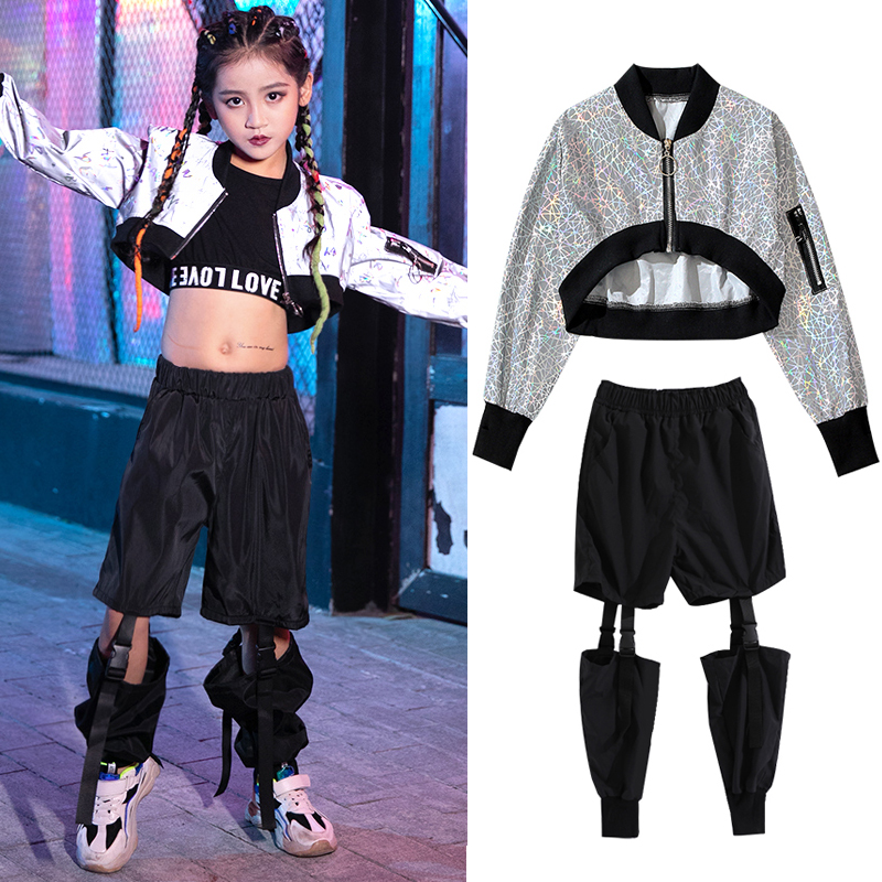 Hip Hop Kids Reflective Jacket Baby Girl Clothing Jazz Dance Costume Children Hiphop Pant Modern Performance Stage Rave Clothes