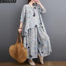 DIMANAF Plus Size Two Piece Set Suit Women Clothing Vinatge Print Elegant Lady Tops Shirt Linen Loose Pants Female Suit Summer