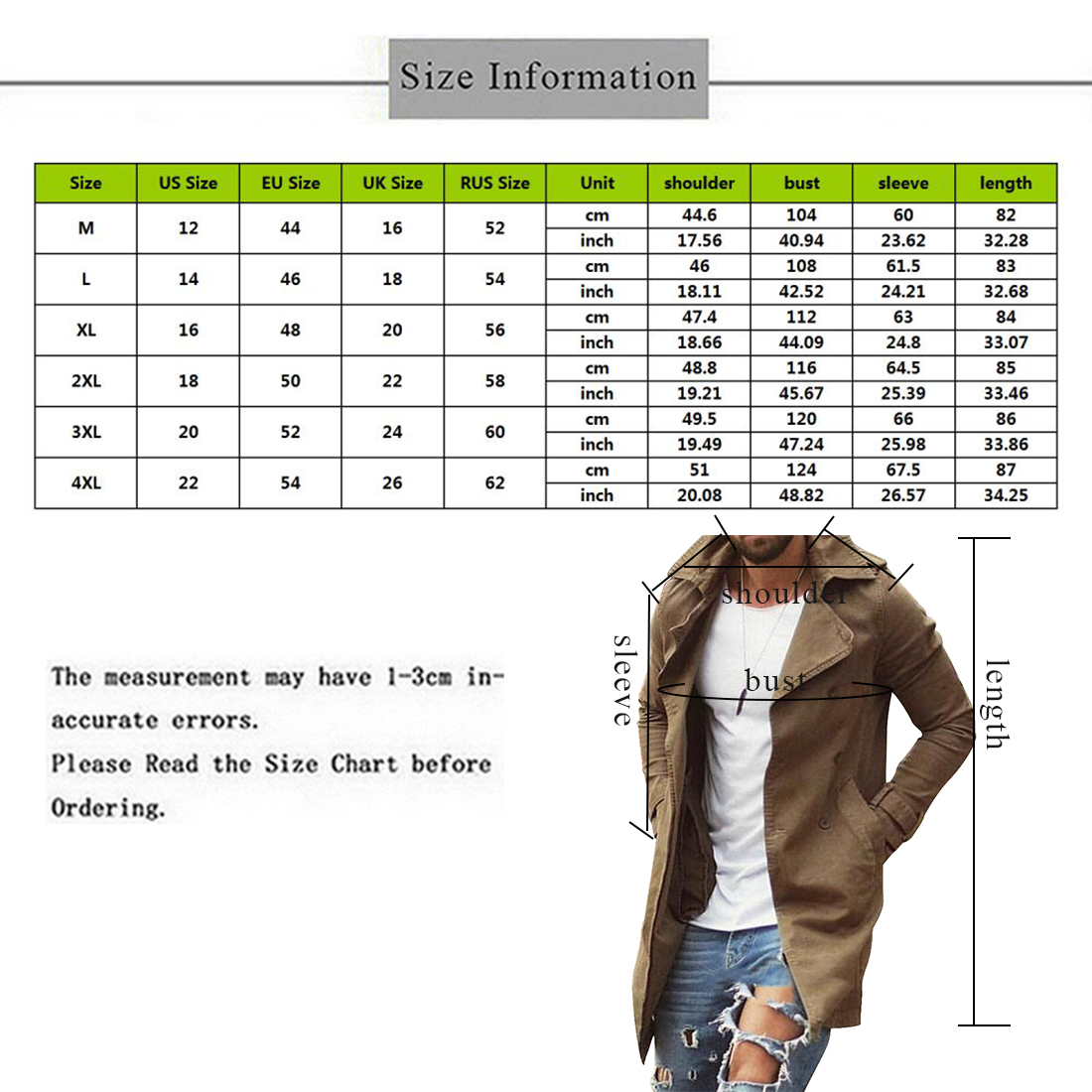 Spring Autumn Men Trench Coat Jacket Slim Fit Plus Size Black Outwear Business Long Windproof Overcoat Jackets For Men 6