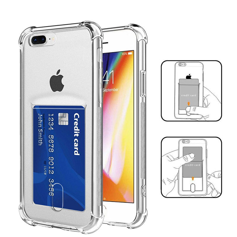 Transparent iPhone Case with Slot Card Holder Back Cover ID Credit Slot TPU case for iPhone 11 Pro Max X XS Max XR 6 7 8 Plus