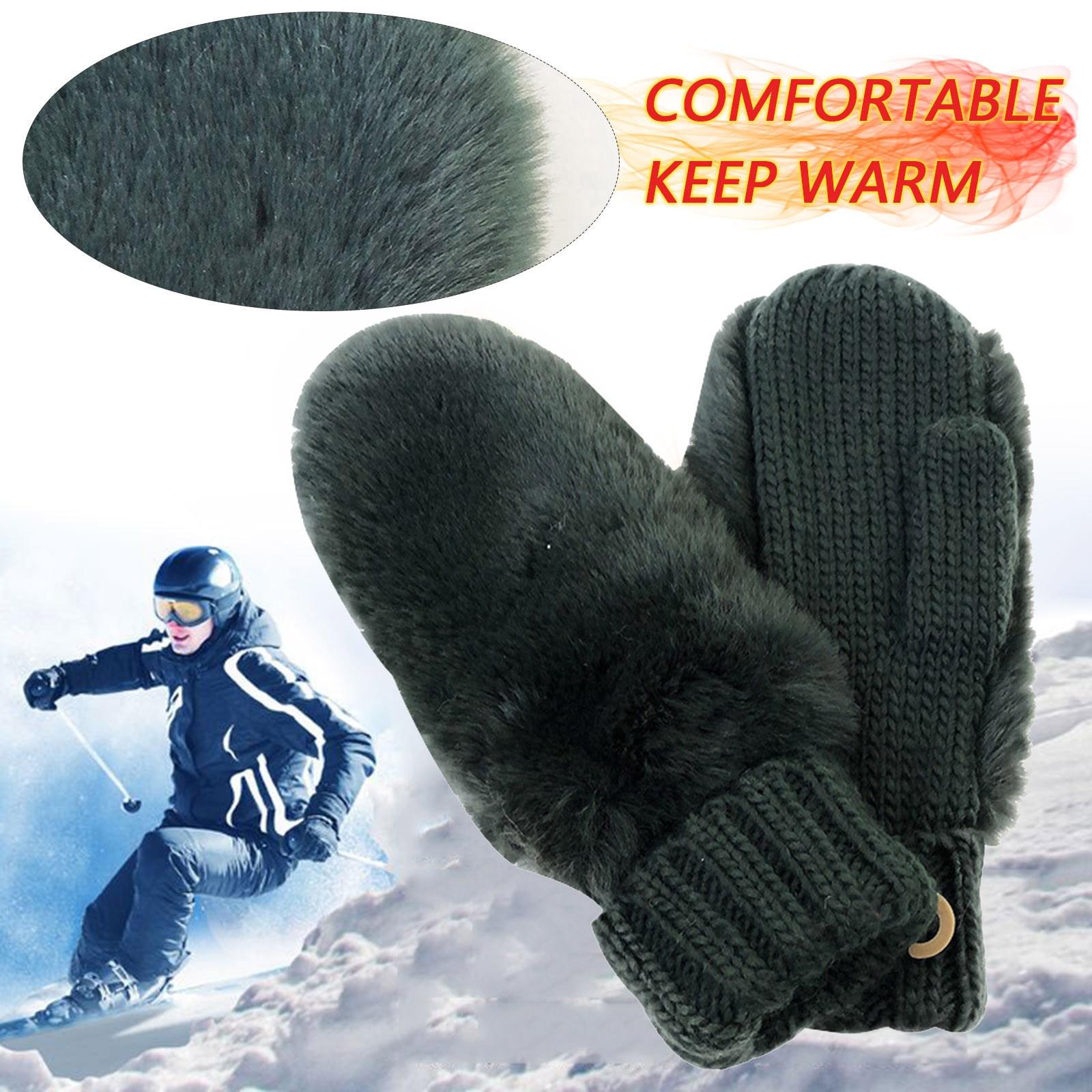 Уличные витые шерстяные толстые шерстяные теплые перчатки для взрослых, экологически чистые черно-белые модные толстые варежки, мужские перчатки