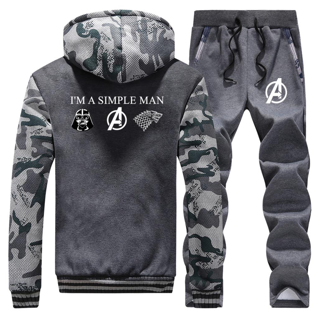 I'm A Simple Man Love Star Wars Avengers Game Of Thrones Thick Hoodies Men 2020 Winter Warm Jacket Sweatshirt+Pants 2 Piece Sets