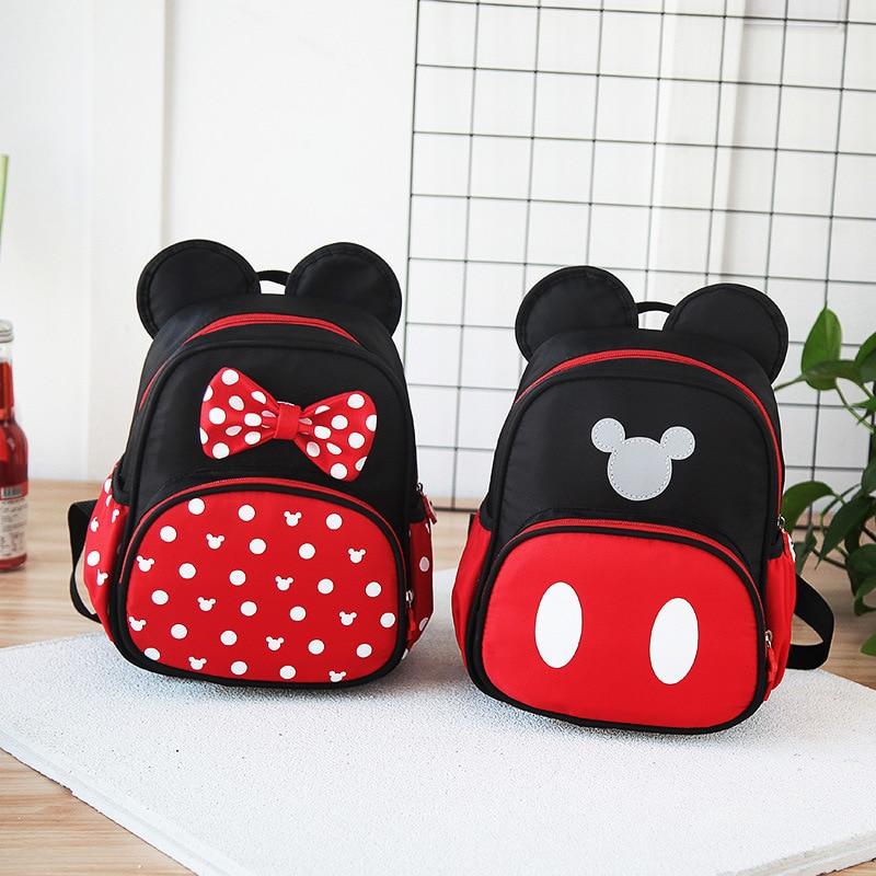Disney New Kindergarten Plush Schoolbag Boys Girls Cartoon Minnie Mickey Kids Preschool Children's Baby Backpack