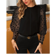Casual Women Long Sleeve Sheer Mesh Blouse Tops Elegant Lantern Sleeve Polka Dot Female See-Through