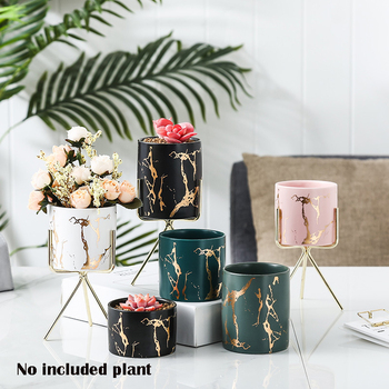 Nordic Style Home Office Golden Marbling Flower Pot Iron Ceramic Pot Makeup Pen Container Set Vases for Decoration nordic style high quality desktop furnishings glass vases wedding home decoration accessories ornaments flower pot pen holder 40