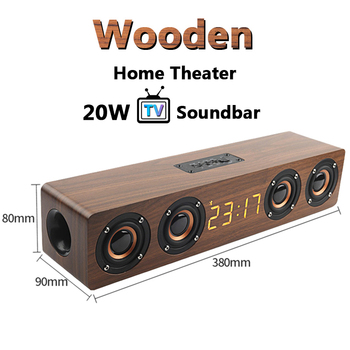 20W Wooden TV Soundbar Portable Bluetooth Speaker Wireless Column Home Theater Bass Stereo Multi-function Subwoofer with TF FM