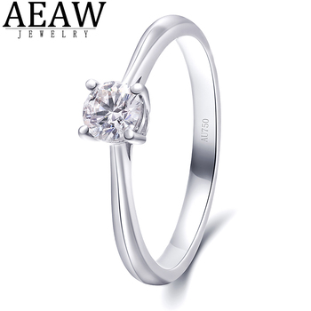 GIGAJEWE 0.3ct 4mm Round Cut EF VVS1 Moissanite 925 Silver Ring Diamond Test Passed Fashion Girlfriend Women Christmas Gift image