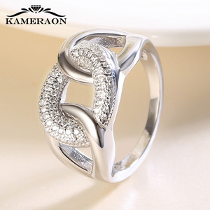 Image 3 - Womens Fine Jewellery 925 Sterling Silver Rings Punk Thread Zircon Jewelry Big Wide Fashion Wedding Evening Party Ring